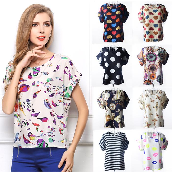 16 Designs S,M,L,XL,XXL Selected Blouse O-neck Colorful Bird Heart Pady's Chiffon Loose Batwing Casual Short Blouse Shirt(China (Mainland))