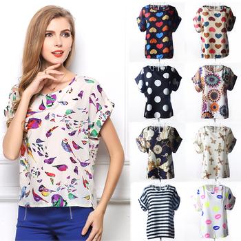 Женская шифоновая блуза свободного кроя с О-образным вырезом
