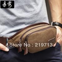 Eshow 2014 Latest Canvas Travel waist Packs For Men Shoulder Bags Men Hip Bag Free Shipping