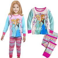 new 2014 frozen princess elsa anna girls clothing set spring autumn long sleeve kids pajamas retail children's pajama set