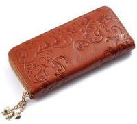 Free Shipping New Fashion Style The best Genuine Leather Zip Around Flower pattern Lady Women Long Wallet Purse Handbag 5 Color