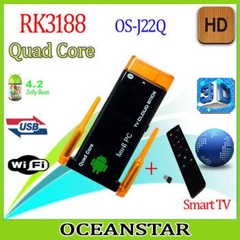 free shipping MINI PC Smart  TV dongle  Quad Core dual antenna miracast