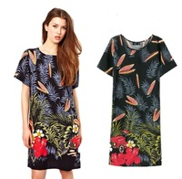QZ637 New Arrival Ladies' Fashion elegant vintage floral print O-neck Dresses short sleeve casual slim brand design dress