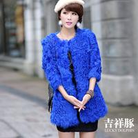 Free shipping ! Hight quality 2014 new winter 100% real natural Berber fleece fur coat slim medium-long O neck WTP9