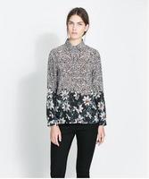 New Fashion Ladies' vintage floral print blouse long sleeve elegant Shirts casual slim brand designer top