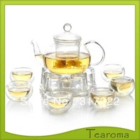 Free Shipping 800ml Heat-Resistant Glass TeaPot With 4pcs Cups High temperature resistant glass Tea Sets with Round Pallet New