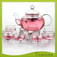 Free Shipping 800ml High Temperature Resistant Glass Flower Teapot with 6pcs double layer cups set glass tea set 800ml pot  New