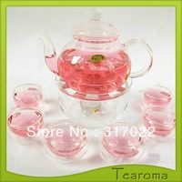 Free Shipping 800ml Heat Resistant Glass Tea Set With 4pcs Tea Cups and Round Tea Plate For Herbal Tea 800ml teapot  New