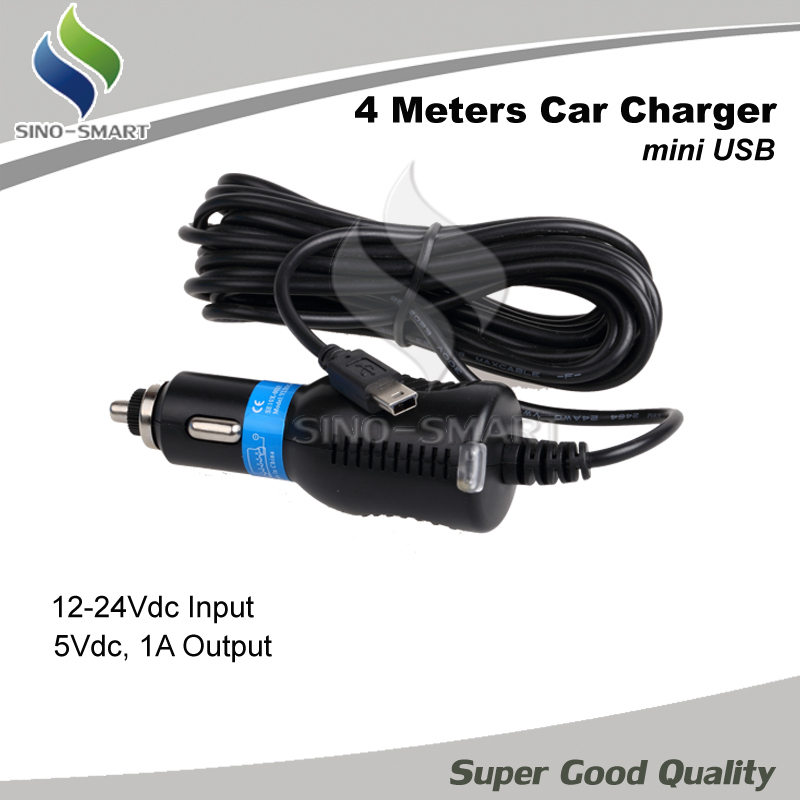 High quality ultra long four meters car charger power cord lengthen 4 meters mini USB port for DVR/GPS etc 4m(Hong Kong)