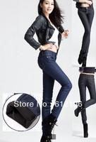 2013 Winter Thicken Plus Size Women High Waist Pencil Pants Denim Pants Jeans Skinny Cotton Trousers XL XXL XXXL Freeshipping