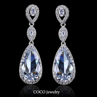 New Luxury Gold Plated Cubic Zirconia  Drop Earrings Women Evening Jewelry wholesale ZE104
