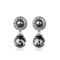 free shipping black pearl earrings brand