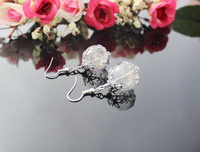 5Pairs 16MM Glass Bubble Dandelion earrings,Glass dome dangle earrings filled with real dried dandelion seeds GGJ-GJE-004