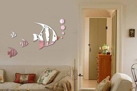 [listed in stock]-80x60cm(31x24in)3pcs/lot bubble fish under the sea wall mirror sticker for Bathroom Decoration