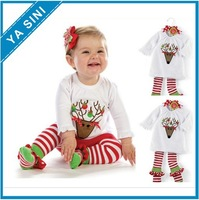 2014 new cute deer red and white striped cotton shirt + pants baby 2 Set Free Shipping