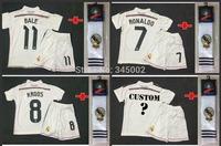 2014-2015 Real Madrid Home RONALDO BENZEMA BALE Kids youth Full Set (jersey short sock) , 2015 girls boys soccer jersey