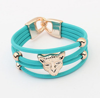 Min.order is $15 (mix order) Hot new fluorescent colors leopard head leather bracelet