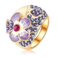 Fashion Brand Purple Enamel Flower Rings 18K Gold Plated Austrian Crystal SWA Element Finger Wedding Rings For Women RIN065