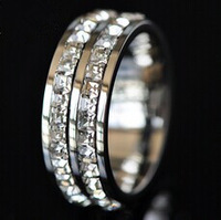 silver doulbe crystal rings