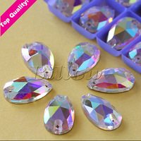 17*28 13*22 10.5*18 7*12 16*25 22*38 Droplet  Pearshape Sew On  Stone Crystal AB Teardrop Rhinestone With 2 Holes Button Beads