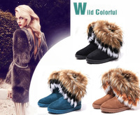 Free shipping 2013 fashion new winter warm high long snow boots artificial rabbit fur leather tassel women's girl's shoes