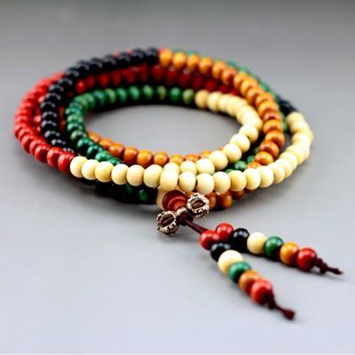 CB001 multicolor 8mm 108 sandalwood beads japa rosary prayer mala bracelet Tibetan Buddhist meditation with bag as free gift(China (Mainland))
