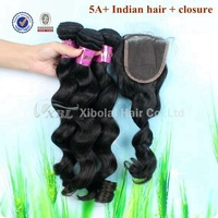 XBL Free Shipping 5A+ 100% Unprocessed Indian Virgin Hair Weaving Hair And Closure