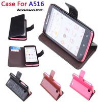 Newest Flip Wallet Leather case cover For Lenovo A516 With Card Slot+Free ship!