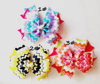 90pcs/lot Chevron Hair Bow Customize Colors Chevron Hair Clip YM-PB-112107