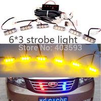 Wholesale 18LED car truck boat motorcycle Flash Strobe   snowy raining Emergency Light Amber, 3X6   panels warning light