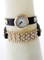 Hot!!!The latest pop punk style rivet shiny leather diamond chain hoist ladies watch/factory outlet (free shipping)
