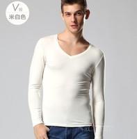 Do promotion! Autumn lycra cotton male plus big size 4xl long-sleeve T-shirt men's clothing man V-neck basic shirt t-shirt large