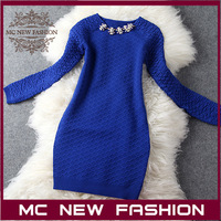 2013 Runway Shows Female New Style Gemstone & Diamond Deco Round Neck Heart Pattern Jacquard Long Sleeve Knitted Dress Women's
