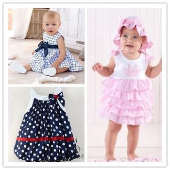 HB298  Cotton baby dress/ size 80 90 100/ girl cute blue summer sleeveless dress/retail