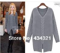 women loose long sweater plus size long sleeve twist pattern knitted swearter brand designer knitwear hottop high quality retail