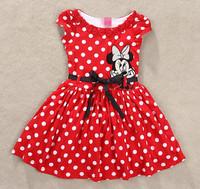 2014 Girls Dress Minnie Bow Dot Polka Dot Dress with waist red dress casual cartoon princess free shipping