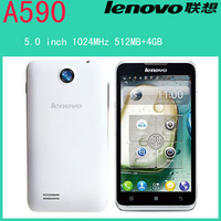 Original Lenovo A590 phone GSM 5inch 800x480 1024MHz Dual Core Android 4.1 512MB/4GB support Bluetooth WIFI  russian language