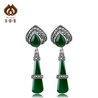 Thai silver fashion brief 925 Women green agate handmade   sterling silver brand accessories Drop Earrings