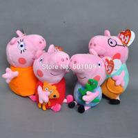 "Free Shipping NEW 4 pcs/SET Peppa Pig Family Plush Doll Stuffed Toy DADDY & MUMMY Peppa & GEORGE 7-8""(18-20CM)  Retail"