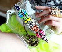 Free Shipping!!New 2014 Shourouk Rainbow Colored Mini Imitation Gem Transparent PVC Shoulder Bag
