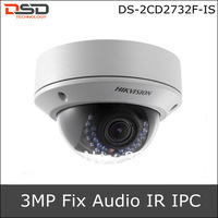 DS-2CD2732F-IS Hikvision IPC 3Megapixel Vandal-Proof Fix lens, can support Audio In/Out & PoE