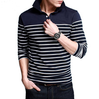 New arrival fashion men's long-sleeved cotton striped lapel PoloT shirts Slim T-shirt men Big Size PT-7035 Free shipping