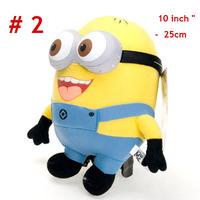 3pcs/set 25CM 10Inch Despicable ME 2 Movie Plush Toys 3D eyes Minions Jorge Stewart Dave soft plush toys