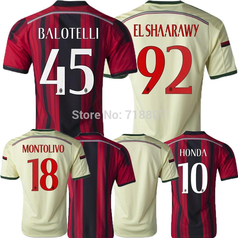 THAILAND Balotelli AC Milan Jersey 14/15 Yellow Robinho EL SHAARAWY 2015 AC Milan Home KAKA Soccer Jerseys 3rd Prince Shirts(China (Mainland))