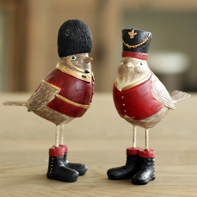 AIBEI- British the royal Style Robin Bird 2PCS/SET Resin Figurine Antique Imitation Home Decoration Wedding Gifts Crafts(China (Mainland))