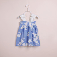 3T-8T Children baby girls clothing dresses new 2014 summer girl kids brand sleeveless Embroidery flower beach dress with bow