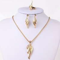 Hot Selling 18K Gold Plated Necklace Earrings Ring Fashion Crystal Wing Shape Laser Pendant necklace Women Wedding Jewelry Sets