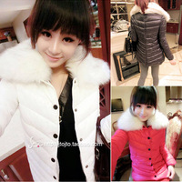 Women's 2013 candy color fur collar cotton medium-long wadded jacket cotton-padded jacket outerwear female long-sleeve