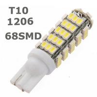 10pcs/lot 68LED 68smd 1206 68 SMD LED T10 Car W5W 194 927 161 Side Wedge Light Lamp Bulb for License plate lights