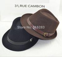 Fashion small fedoras male women's fashion jazz hat summer black woolen cap outdoor casual hat